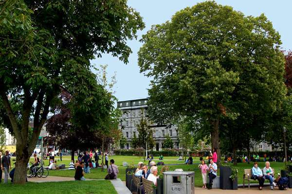 Eyre Square Galway looking across the square in fine summer weather.